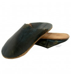 Zwarte traditionele slipper, slipper ronde uit Marrakech