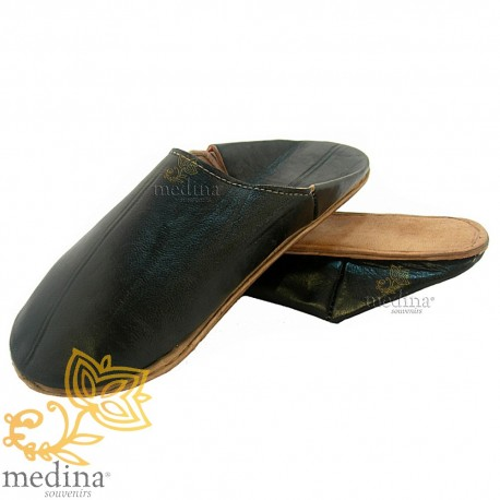 Black traditional slipper, slipper round out Marrakech