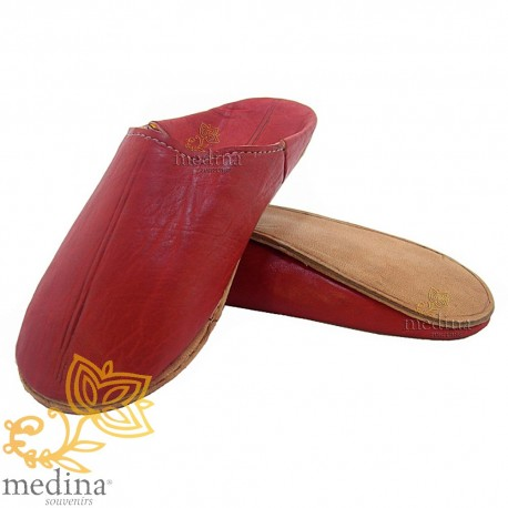 Red traditional slipper, slipper round out Marrakech