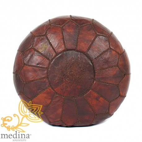 Pouf design Moroccan leather chocolate brown Ottoman in genuine leather handmade