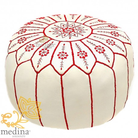 Pouf design leather Moroccan white and Fushia pouf real leather is hand