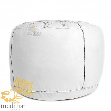Poof Nejma White Leather Moroccan Ottoman leather handmade