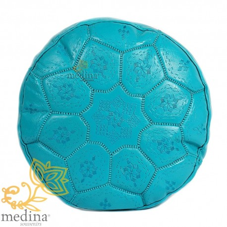 Poof Nejma leather turquoise Moroccan pouf genuine leather handmade