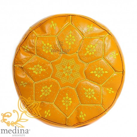Poof Nejma mustard leather Moroccan Ottoman leather handmade