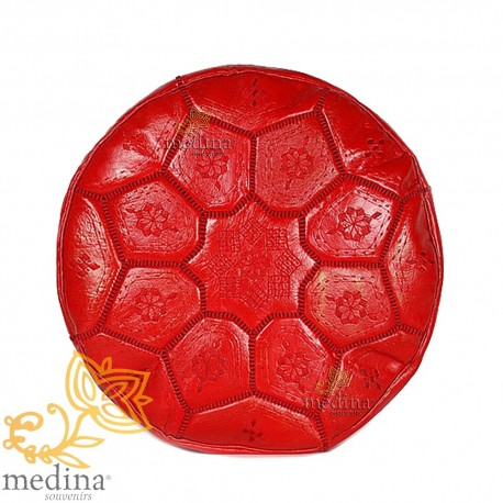 Poof Nejma red leather Moroccan Ottoman leather handmade