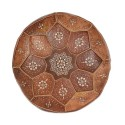 Poof Nejma tanned leather camel Moroccan Ottoman leather handmade