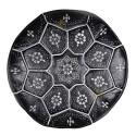 Poof Nejma in black leather and white embroidery Moroccan Ottoman leather handmade