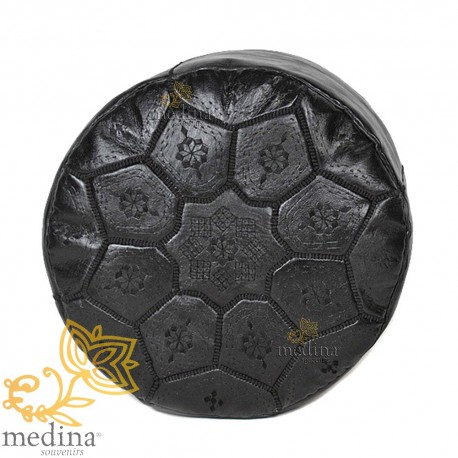 Poof Nejma black leather Moroccan Ottoman leather handmade