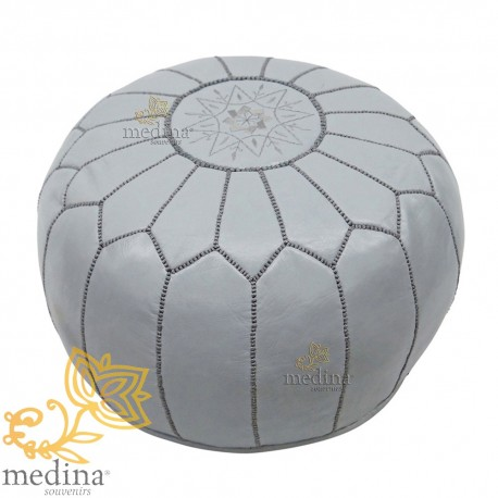 Brilliant Pouf Design Leather Hand Made Moroccan Ottoman Leather Grey Ibusinesslaw Wood Chair Design Ideas Ibusinesslaworg