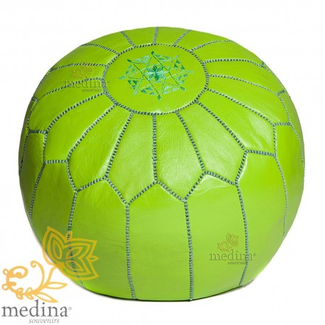 Pouf design anise green Moroccan leather pouf real leather is hand