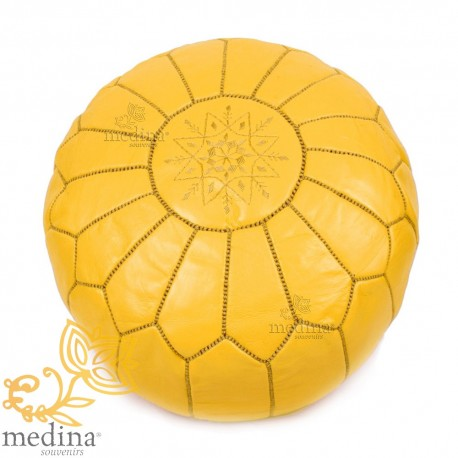 Pouf design leather hand made Moroccan mustard real leather pouf
