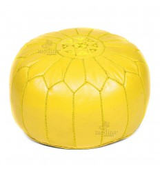 Pouf design leather hand made Moroccan Ottoman leather yellow