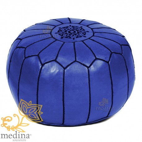 Ottoman Navy Blue Moroccan leather pouf real leather is hand design