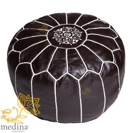 Pouf design black Moroccan leather and white stitching pouf genuine leather handmade