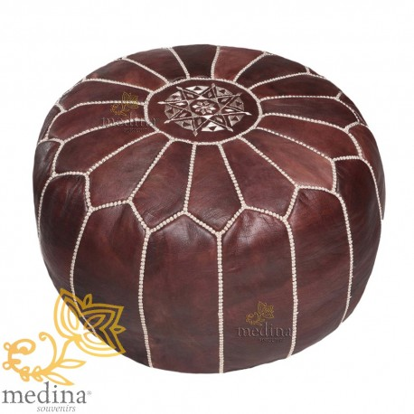 Pouf design dark brown Moroccan leather and beige stitching pouf genuine leather handmade