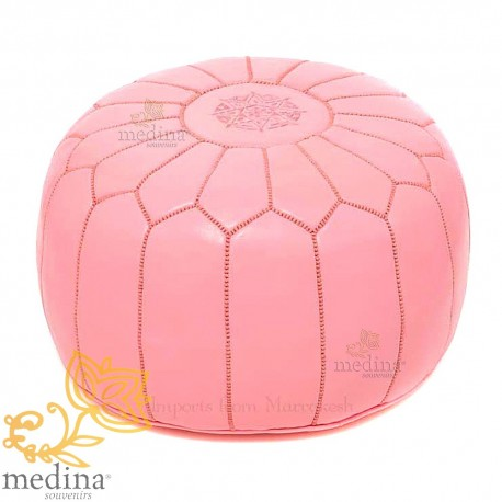 Pouf design pink Moroccan leather pouf genuine leather handmade