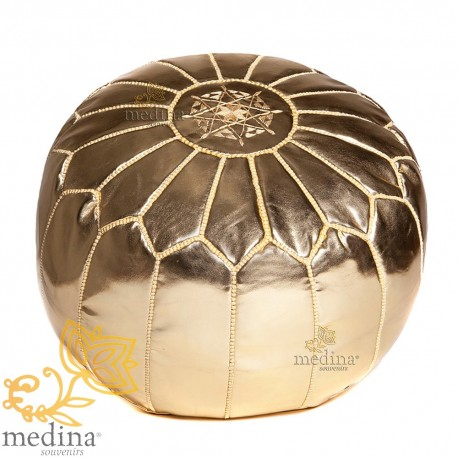 Design pouf Moroccan leather pouf gold entirely handmade