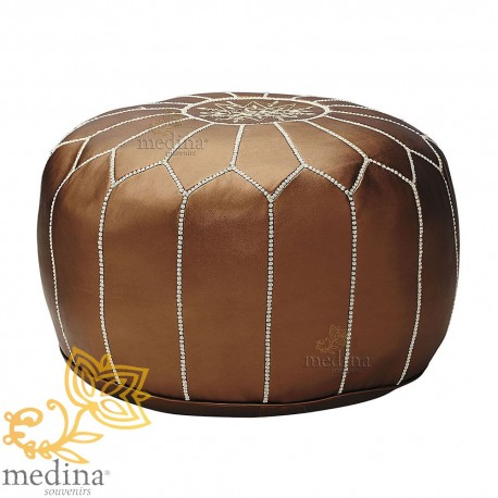 Pouf design Moroccan leather copper pouf real leather is hand