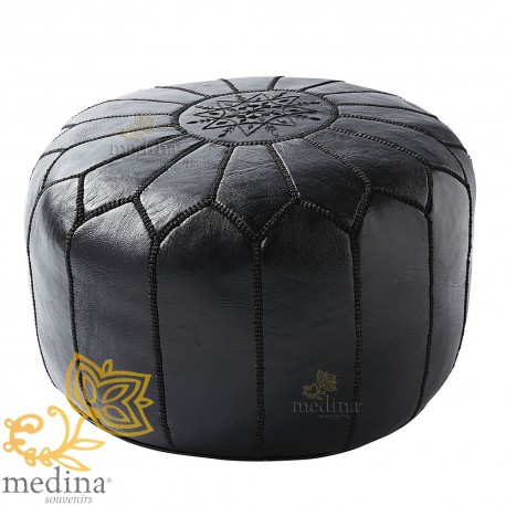 Pouf design Moroccan leather pouf real leather is hand black