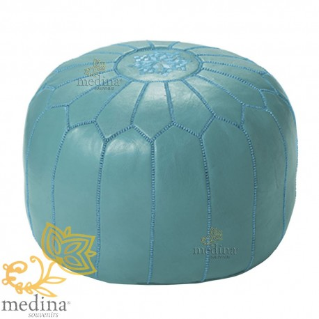 Pouf design blue Moroccan leather clear Ottoman in genuine leather handmade
