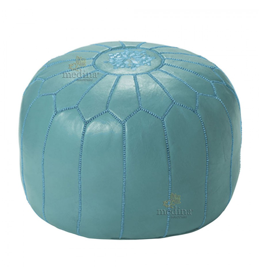 Pouf design Moroccan leather light blue, made and sewn by hand.