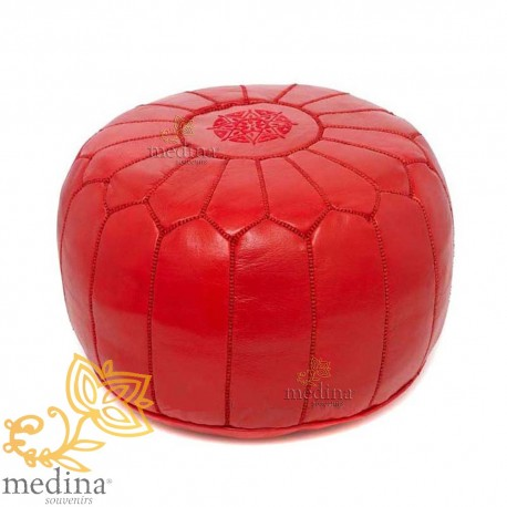 Pouf Design Red Moroccan Leather Fabricated And Sewn By Hand