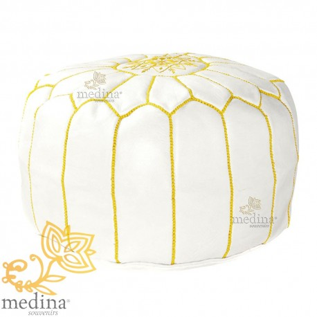 Pouf design Moroccan leather white and gold pouf real leather is hand