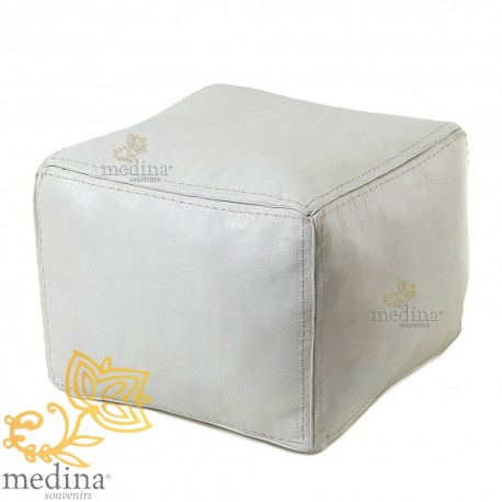 White square pouf pouf topstitched leather high quality entirely handmade