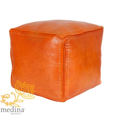 Square Ottoman orange color calfskin leather Ottoman high quality fully done hand