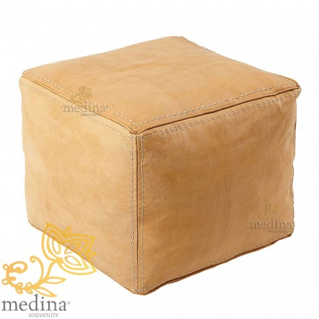 Square leather Ottoman surpiqué natural color poof high quality entirely handmade