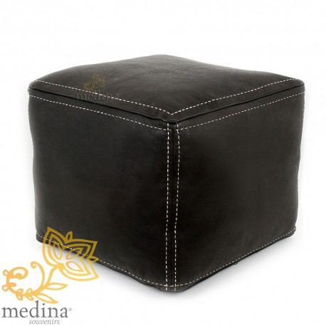 Black square pouf pouf topstitched leather high quality entirely handmade