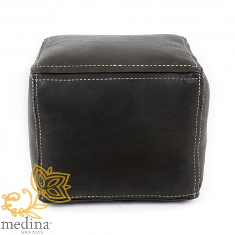 Prime Black Square Pouf Pouf Topstitched Leather High Quality Entirely Handmade Forskolin Free Trial Chair Design Images Forskolin Free Trialorg