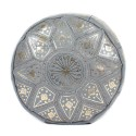 Fassi pouf gray leather, Moroccan Ottoman leather real leather handmade