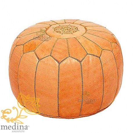Moroccan design Ottoman leather natural pouf real leather is hand