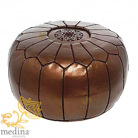Design Ottoman Brown Moroccan leather pouf metal entirely handmade