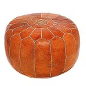 Pouf design leather hand made Moroccan Ottoman Leather Brown