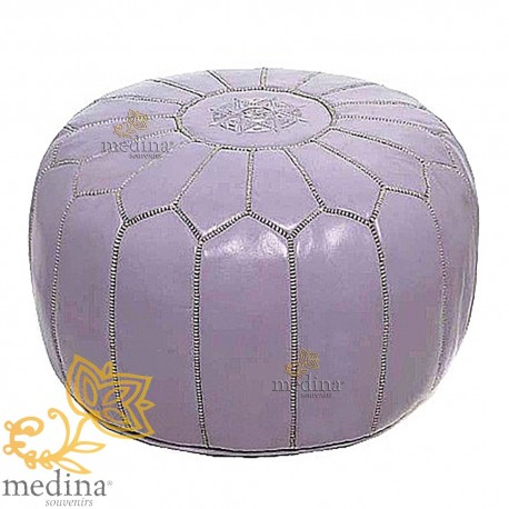 Pouf design leather hand made Moroccan leather pouf violet