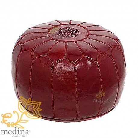 Pouf design leather hand made Moroccan Ottoman leather bordeaux
