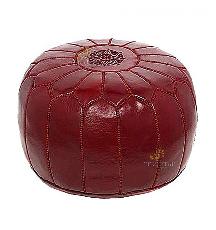 Pouf design leather Moroccan Burgundy, made and sewn by hand.