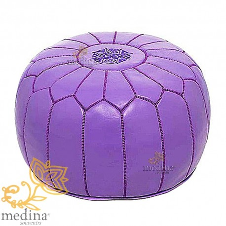 Pouf design leather hand made Moroccan Lavender leather pouf