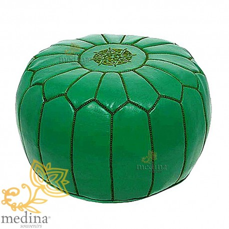 Pouf design leather hand made Moroccan Ottoman leather Green