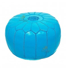 Pouf design Moroccan leather Turquoise pouf real leather is hand