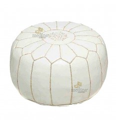 Pouf design Moroccan leather white Ottoman real leather is hand