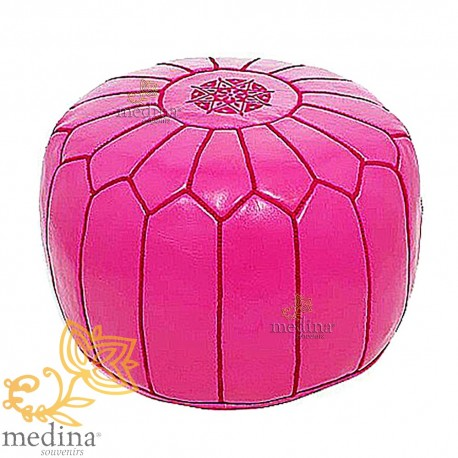 Pouf design leather hand made Moroccan fuchsia leather pouf