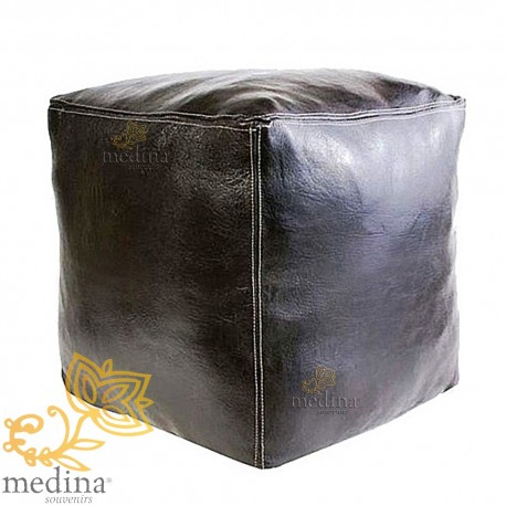 Moroccan Ottoman cube black craft square Ottoman in genuine leather