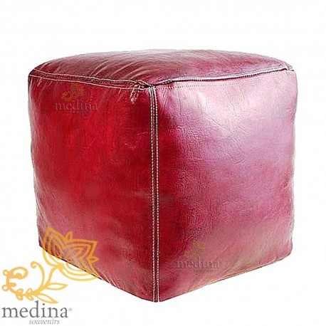 Moroccan Ottoman cube bordeaux artisan square Ottoman in genuine leather