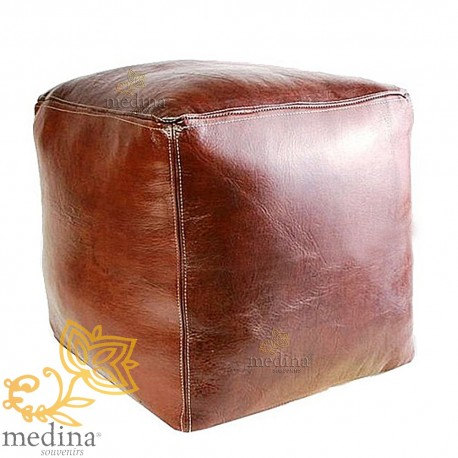 Moroccan pouf chocolate brown cube craft square Ottoman in genuine leather