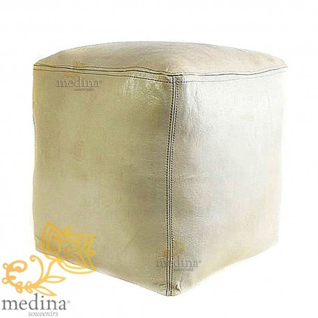 Moroccan Ottoman cube white craft square Ottoman in genuine leather
