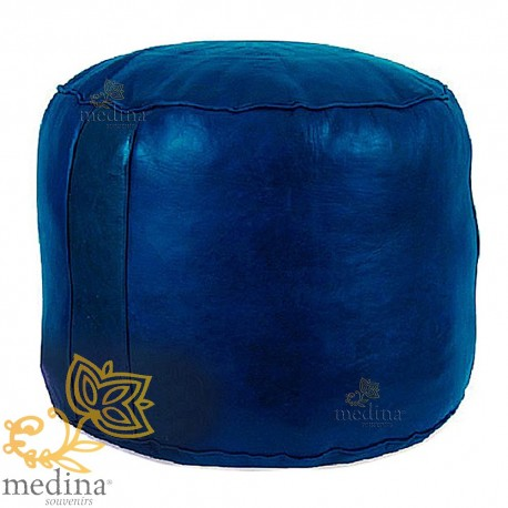 Ottoman round blue rosette, a beanbag Chair real leather and handmade
