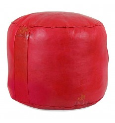 Ottoman round red rosette, a beanbag Chair real leather and handmade
